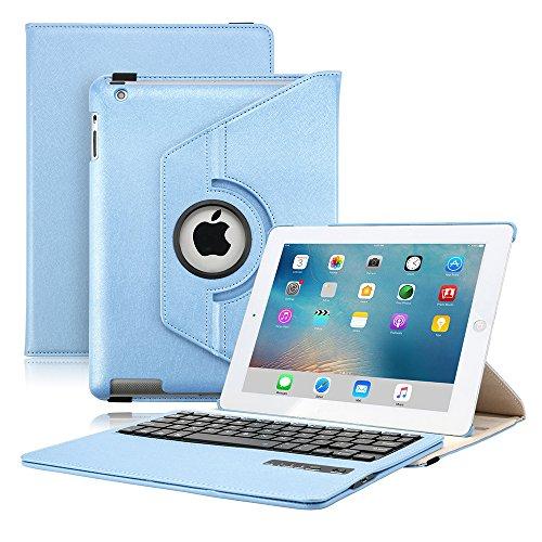 KVAGO iPad Keyboard Case for iPad 2/3/4, Slim-Fit Protective Case 360 Degree Rotating Case Sleeve with Detachable Wireless Bluetooth Keyboard Keypad for Apple iPad 2/ iPad 3/ iPad 4 -Blue by KVAGO