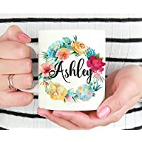 Personalized Name Floral Wreath Mug