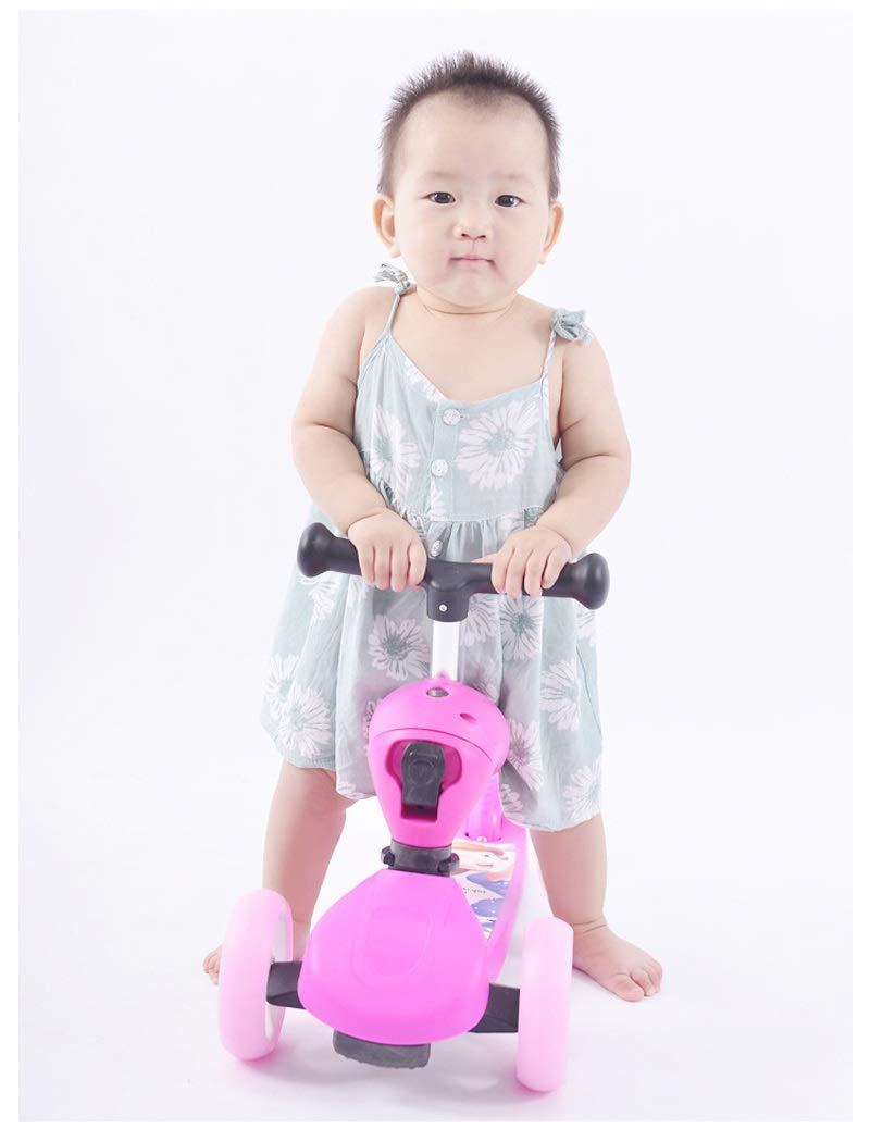 XUEYING-KickScooter Multifunktions-Roller für Kinder 3 Runden können können können sitzen 1-2-6-8 Jahre Alter Slipper DREI-in-Eins-Jungen-weibliches Baby-Fahrrad (Farbe   Rosa) 448817
