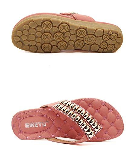tong dqq plat de Rose sandales femmes perles Xq1XUw