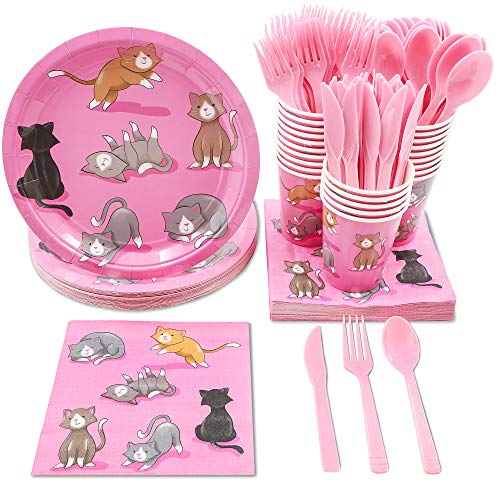 Cat Birthday Party Supplies, Paper Plates, Napkins, Cups and Plastic Cutlery (Serves 24, 144 Pieces)