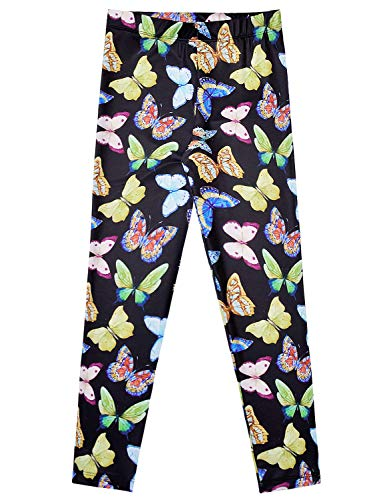 Girls Butterfly Pattern Leggings Full-Length Tights Trousers Black Cute 7-16]()