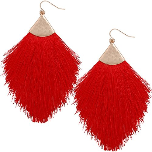 - Humble Chic Fringe Tassel Statement Dangle Earrings - Lightweight Long Feather Drops, Red, Bright, Gold-Tone