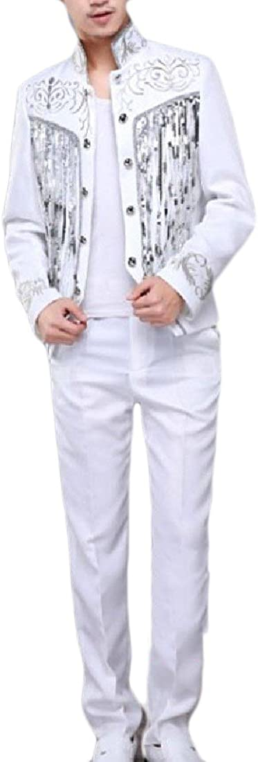 BSTBUWIN Mens Suit Double-Breasted Mao Collar Sequin Club Vogue Business Suit