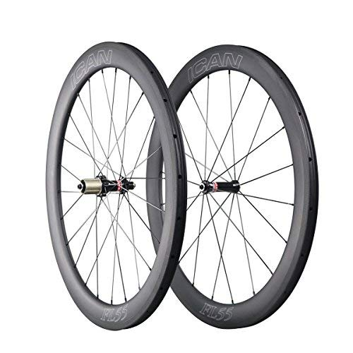 ICAN FL55 700C Carbon Road Bike Wheelset Clincher Tubeless Ready Rim Straight Pull Sapim CX Ray Spoke Only 1510g (Fast & Light Series)