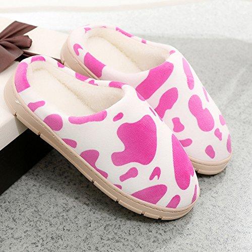 Fankou caldo cotone invernale trascina e gli uomini e le donne a rimanere spesse pantofole marea ,42/43, rosa