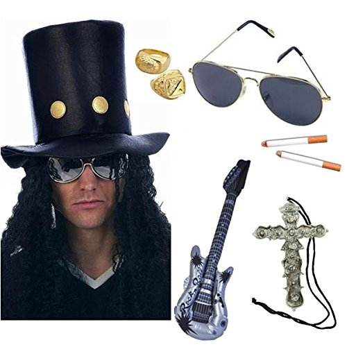 Slash Heavy Metal Rocker Hat with Wig, Sunglasses, Cigarettes, Guitar, Gold Rings & Cross Necklace Fancy Dress