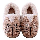 Little Kid Cute Cat Warm House Slippers Booties Khaki 10 B(M) US Little Kid