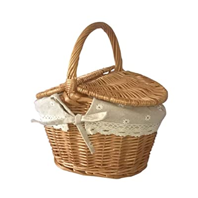 Hankyky Handmade Woven Rattan Picnic Basket with Handle and Double Lids Outdoor Camping Food Storage Hand Woven Wicker Great for Easter Basket : Garden & Outdoor