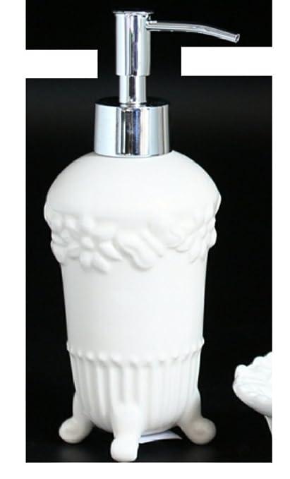 Flair dispensador de jabón Flora dispensador de baño acero cerámica rosas Vintage Crema