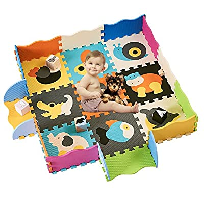 HAN-MM Kids Foam Mat Non Toxic Crawl Mat Baby Tiles Play Puzzle Mat with Softer Thicker EVA Foam Mat for Kids Toddlers Babies Playrooms/Nursery Tummy Time and Crawling