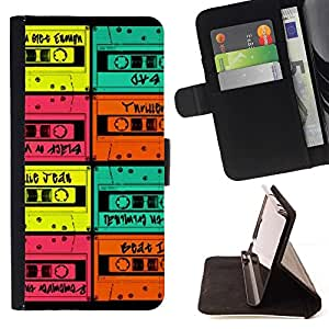 Momo Phone Case / Flip Funda de Cuero Case Cover - Colorful Monnaie Vintage Music - Apple Iphone 4 / 4S