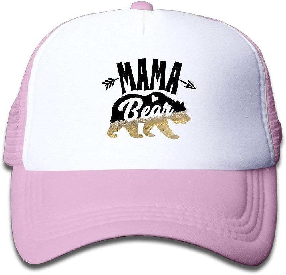 Children Mama Deer Bear Beer Caps Print Mesh Cap Adjustable Snapback Baseball Caps for Boys and Girls
