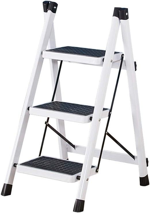 GLJJQMY Escalera Plegable de 2/3 escalones con Escalera de Mango, Pedales Resistentes Antideslizantes y Anchos, principalmente para el hogar, el jardín y la Oficina (Color : White): Amazon.es: Hogar