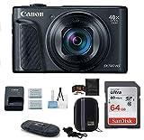 Canon PowerShot SX740 HS Digital Camera Bundle (64GB + Spare Battery Bundle, Black)