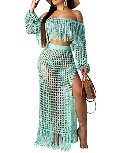 Womens Cute Two Piece Outfits - Strapless Fringe Tube Top + Split Mesh Lace Club Swing Long Dresses Skirts Cyan#2 M