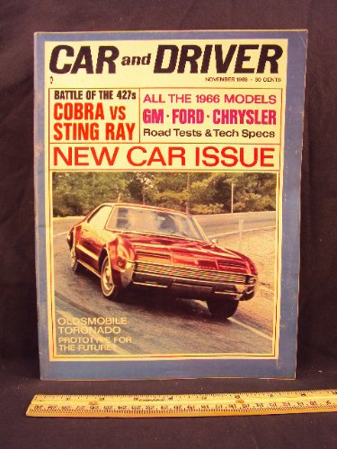 1965 65 November CAR AND DRIVER Magazine (Features: Road Test on Cobra 427, Chrysler 300, Corvette Sting Ray 427, + Oldesmobile Toronado, & Triumph 2000)