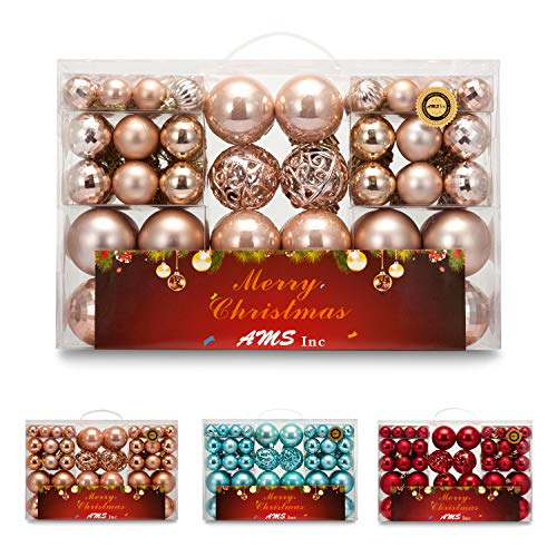 AMS 100-Pack Assorted Xmas Balls Shatterproof Christmas Ornaments Set with Reusable Hand-Help Gift Boxes (Champagne)