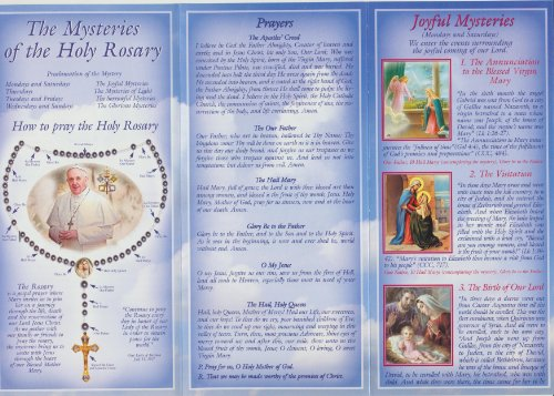Cards Rosary Prayer (Pope Francis How to Pray the Rosary Pamphlet with Holy Card and He Lives Cross Bookmark)
