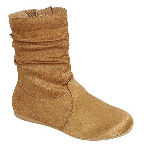 Women's Fashion Calf Flat Heel Side Zipper Slouch Ankle Boots Tan - 03