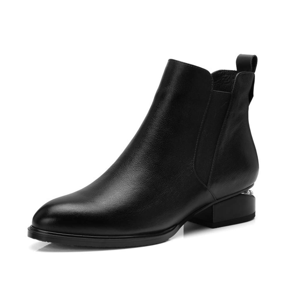 Velours Noir Shirloy Glamour Glamour Chaussures pour Femmes Couche Supérieure Cuir Bottines pour Femmes Sauvage épais avec Bottes pour Femmes Pointues élégant TempéraHommest Bottes  livraison rapide
