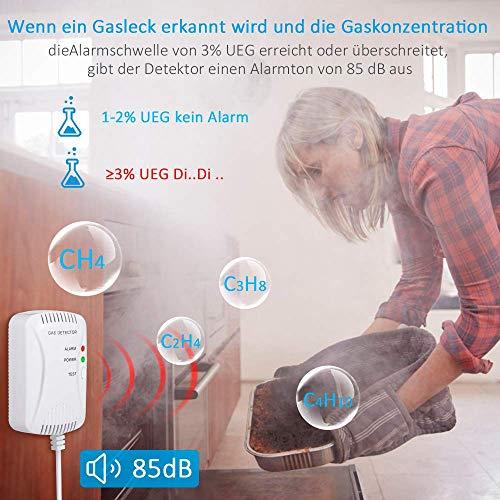 Gasmelder Methan Propan Butan Erdgas Flüssiggas Stadtgas Alarm Detector Plug-in Sensor Gas-Leck-Alarm Gaswarngerät mit akustischem Alarm 85dB LPG LNG Kohle-Erdgas-Lecksuchalarm, für Haus/Küche