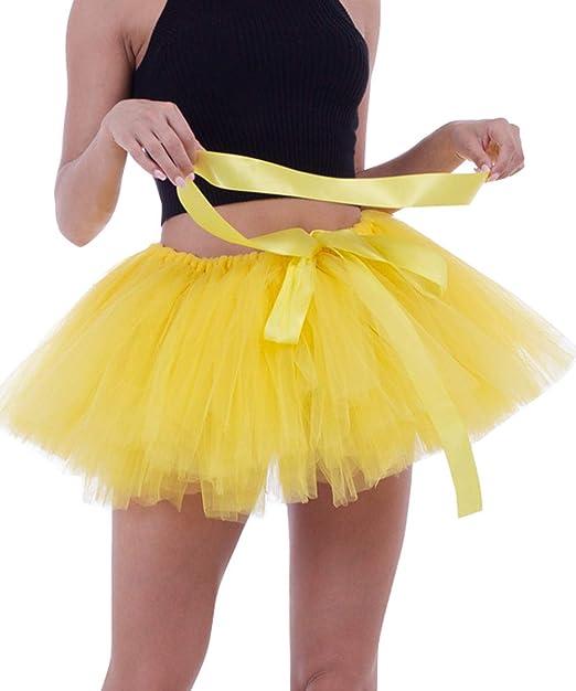 beddd12f0a FEOYA - Falda Tul Cortas de Mujer Chicas Traje de Tutú Danza de Ballet Ropa Falda  Hinchada de Múltiples Capas Gasa Suave de Baile para Adulto - Amarillo  ...