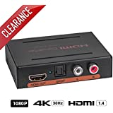 HDMI to HDMI + Optical TOSLINK (SPDIF) + RCA (L/R) Stereo Audio Extractor Converter, 4K @30Hz / 1080P HDMI Audio Splitter Adapter (HDMI Input, HDMI + Digital / Analog Audio Output) by ROOFULL