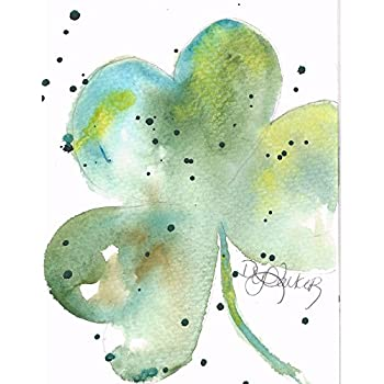 Shamrock Blank Note Cards: 6 Blank Artistic Watercolor Cards, with Envelopes - Good Luck Green Shamrock