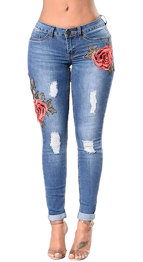 MOUTEN Women Ripped Destroyed Low Rise Floral Embroidery Denim Jeans Pencil Pants
