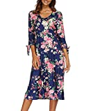 White Maternity Dress,Womens Autumn 3/4 Flare Sleeves Print Dress Bandage Sexy Dress,Watches,Blue,L