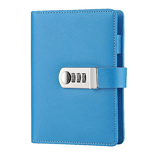 ToiM Macaroon Color PU Leather A6 Loose-leaf Locking Binder Journal With Combination Lock, Passcode Diary Secret Notebook (Sky Blue) by ToiM