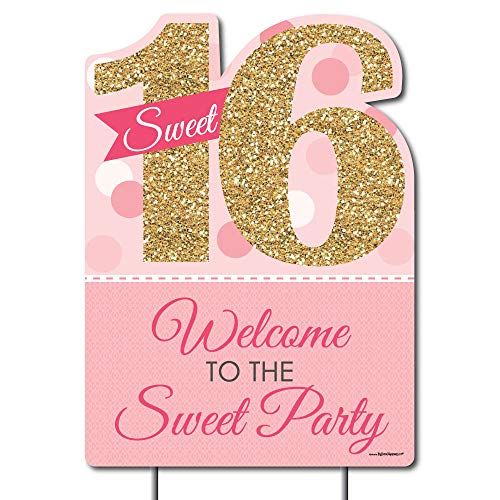 Big Dot of Happiness Sweet 16 - Party Decorations - Birthday Party Welcome Yard Sign
