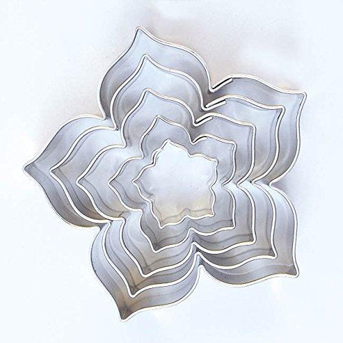 Lilie Lot de 5 emporte-pièces en acier inoxydable Motif fleurs 15/25/35/45/55mm