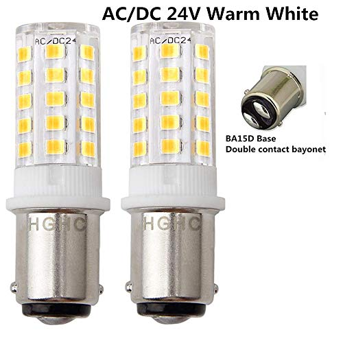 HGHC LED Ba15d 5W Light Bulb 24V AC/DC Warm White 3000K - Double Contact Bayonet Parallel Pin Base 1076 1130 1176 1142 LED 35W RV Replacement Bulb, for Car RV Camper Lighting(Pack of 2) ()