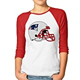 DonSir Football Helmet Logo Women Baseball Raglan Tee Red S