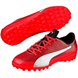 Puma Boy's Red Blast Silver Black Football Shoes-2 UK/India (34.5 EU)(4059504931828)