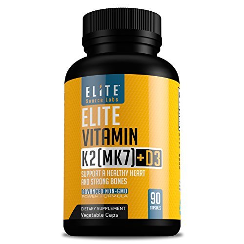 Vitamin D3K2 by Elite Source LabsTM Vitamin D3 5000 IU + K2 (MK-7) 180 Mcg - Supports Stronger Bones and A Healthy Heart, Vitamin D complex with K, All Vegetable Formula, Non-GMO - 90 Capsules
