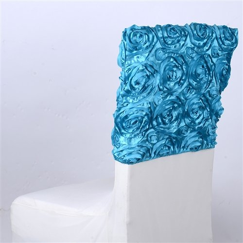 BBCrafts 16 Inch x 14 Inch Rosette Satin Chair Top Covers (Turquoise)