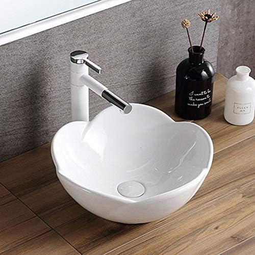 洗面ボール 浴室の容器シンクラウンド上記カウンターシンクアート盆地のために洗面所の洗面化粧台のキャビネット現代のスタイル 洗面器 (Color : White, Size : 39x39x17cm)