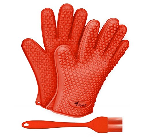 Premium Silicone Heat Resistant Gloves and Brush Bundle - For Indoor Cooking & Barbecue Grilling