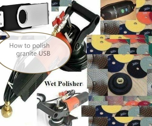 Wet Polisher Grinder Diamond Polishing Pad 20+1 Pieces Graite stone floor quartz concrete with How to Fabricate Granite marble countertop DIY Undermount sink Profile & Polish DVD USB Video by Asia Pacific Construction