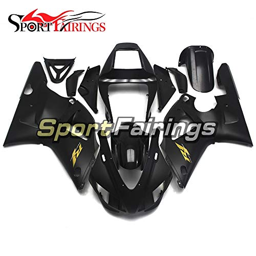(Sportbike Fairings ABS Plastic Injection Black Matte With Gold Decals Complete Motorcycle Fairings For Yamaha R1 YZF1000 R1 1998 1999 98 99 Body)