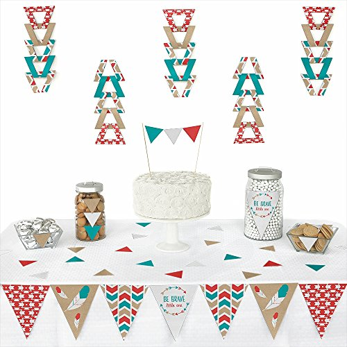 Big Dot of Happiness Be Brave Little One - Triangle Boho Tribal Baby Shower or Birthday Party Decoration Kit - 72 Pieces