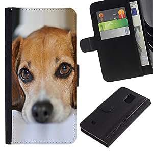 Planetar® Modelo colorido cuero carpeta tirón caso cubierta piel Holster Funda protección Para Samsung Galaxy Note 4 IV ( Perro de perrito lindo Mascotas Mutt Mestizo Sad )