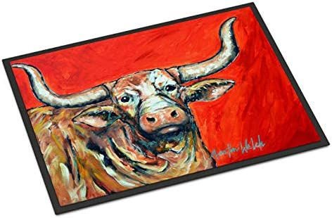 Caroline s Treasures MW1281MAT See Red Longhorn Cow Indoor or Outdoor Mat 18×27, 18H X 27W, Multicolor