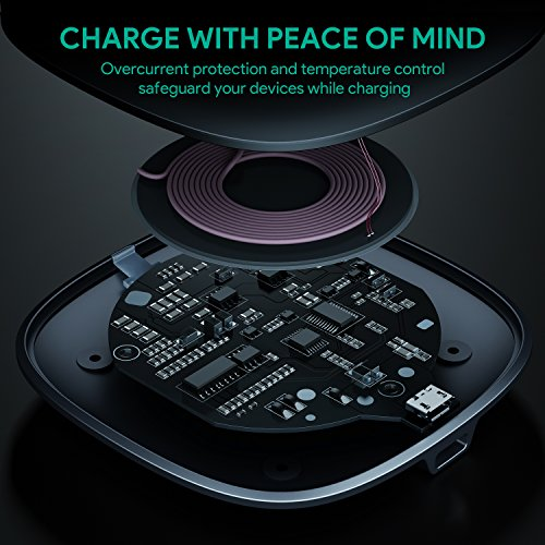 AUKEY Wireless Charger Qi-enabled, Ultra Slim, Crafted with Style Wireless Charging Pad for iPhone X/8/Plus, Samsung Galaxy S9/S9+/S8/S8+/S7 and Other Qi Compatible Devices by AUKEY (Image #3)