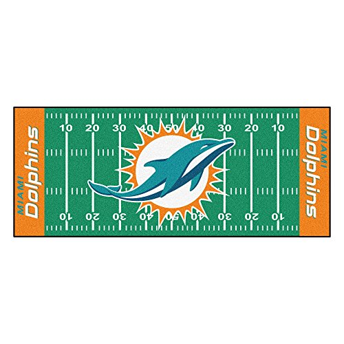 FANMATS NFL Miami Dolphins Nylon Face Football Field (Miami Football Mat)