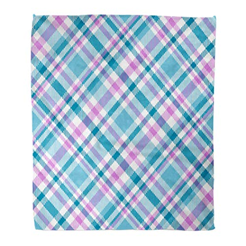 (Emvency Decorative Throw Blanket 60 x 80 Inches Diagonal Tartan Plaid Pattern in Pink White Cyan Green Teal Bedclothes Bedding Check Warm Flannel Soft Blanket for Couch Sofa Bed)