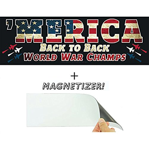 Merica: Back to Back World War Champs Bumper Sticker with Free Magnetizer. Who Kicks Ass? The US Military. How Often? Always. Show American Pride With This Funny Patriotic Car Decal & USA Driving Gift -